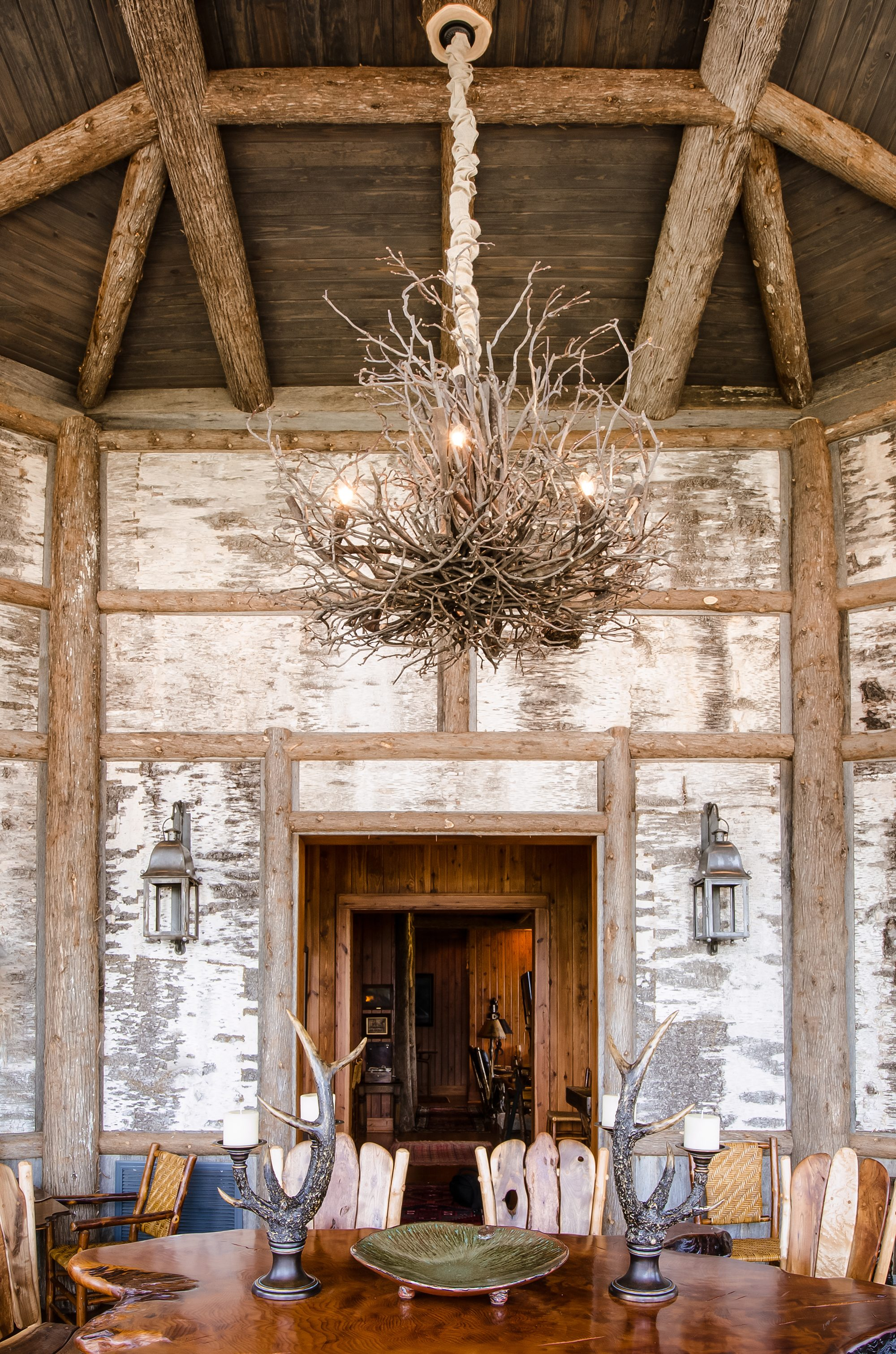 Laminated wall panels image gallery bark house - Rustic dining room chandeliers ...