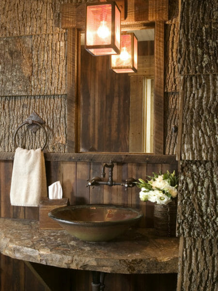 Bark House poplar bark shingles adorn a Colorado bathroom