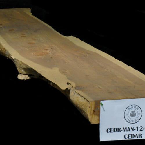 Cedar live edge slab mantle for sale at Bark House #CEDR-MAN-12-0005