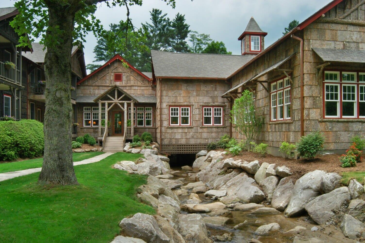 High end poplar bark shingles bark house for Shingle sided homes