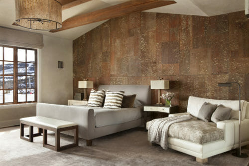 White Pine laminate wall panels on an accent wall in a contemporary bedroom at the Yellowstone Club