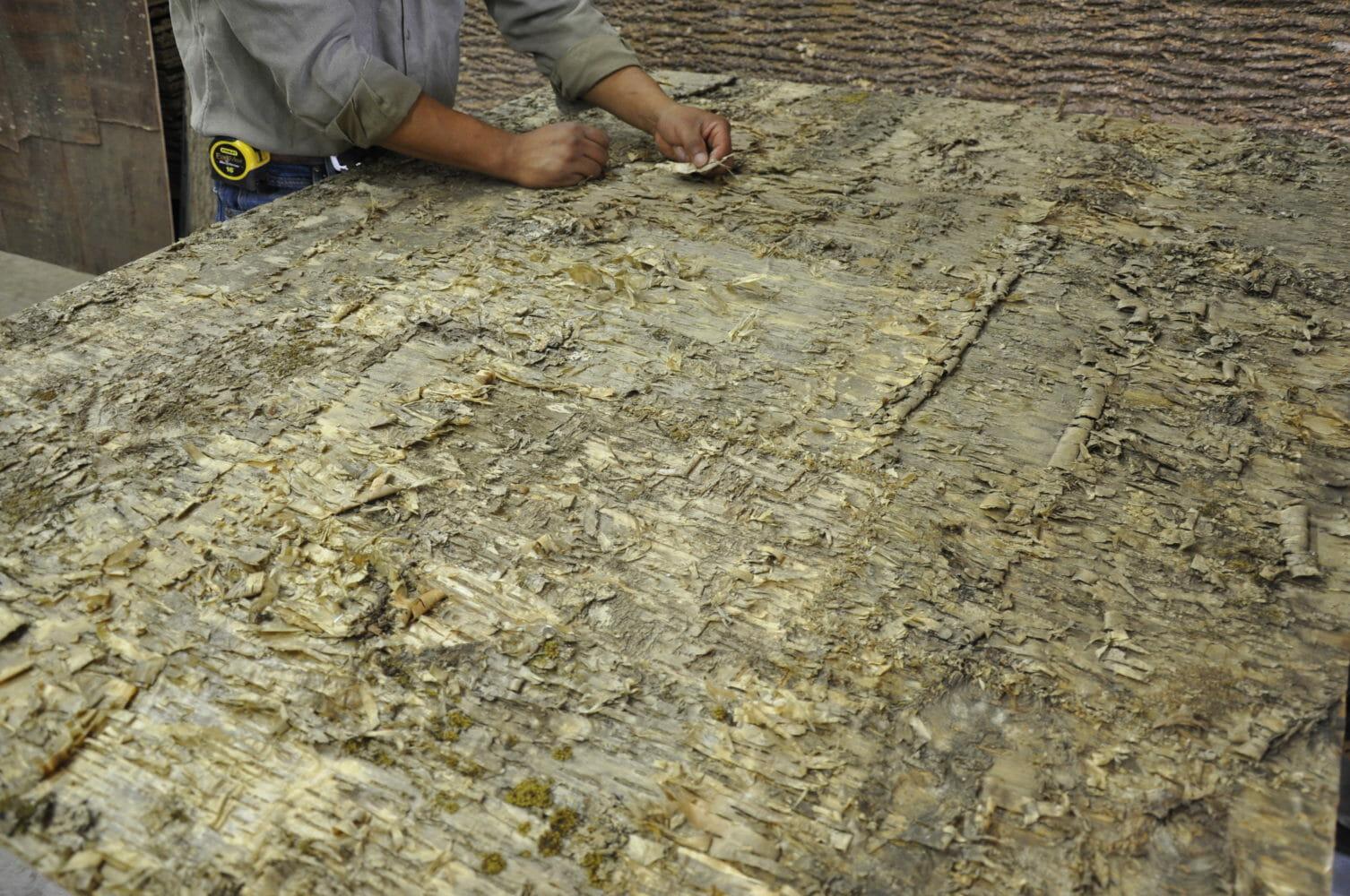 Creating a Yellow Birch Bark Laminate Wall Covering Panel