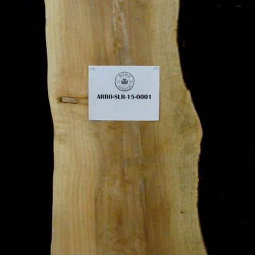 Arborvitae live edge wood slab for sale for desks, tables, designer wall treatments, other. Item #ARBO-SLR-15-0001