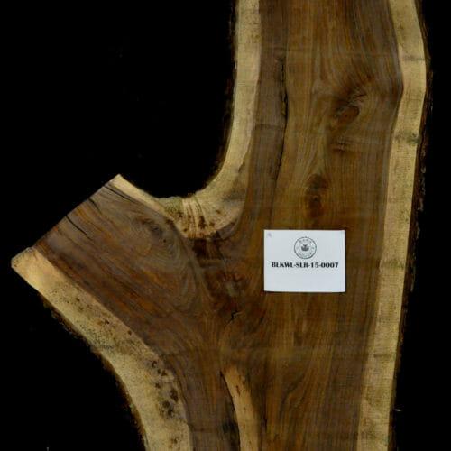 Black Walnut live edge wood slab for sale for desks, tables, designer wall treatments, other. Item #BKWL-SLR-15-0007