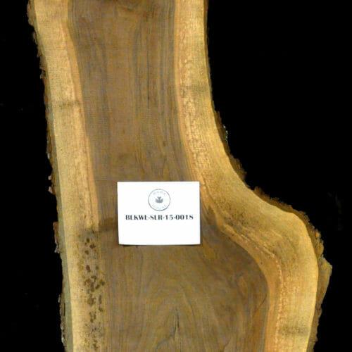Black Walnut live edge wood slab for sale for desks, tables, designer wall treatments, other. Item #BKWL-SLR-15-0018