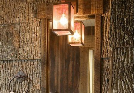 Interior Architectural Poplar Bark Shingles on bathroom walls