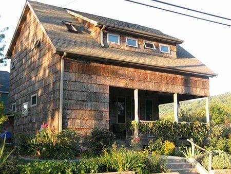 Author Nan Chase's bark shingle house in Asheville