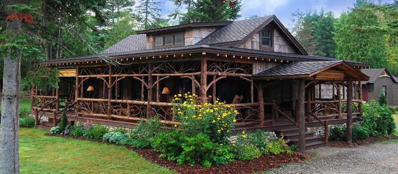 Darkbrook Lodge, Keene, NY: exterior natural wood siding