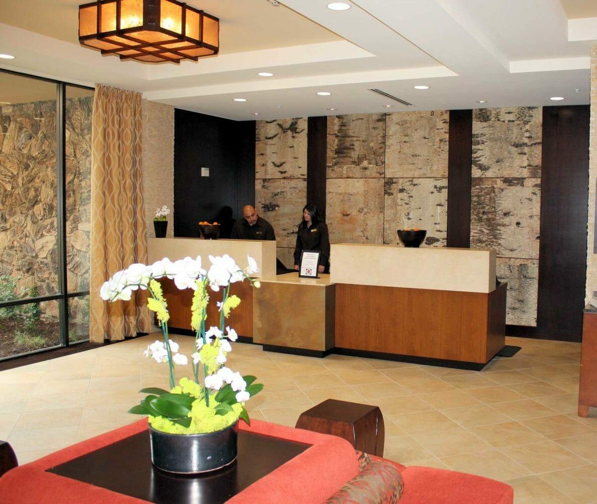 White birch bark veneer interior Marriott The Bark House