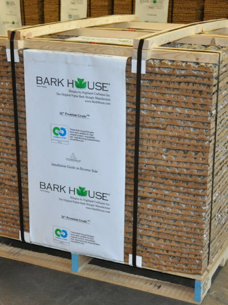 "A pallet of The Bark House at Highland Craftsmen 26"" premium poplar bark shingles for wall covering treatments"