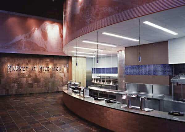 Denver Broncos VIP lounge with The Bark House poplar bark 3D Textured Wall treatment