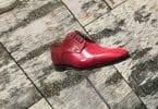 Birch Bark wall panels display Christian Louboutin men's shoe