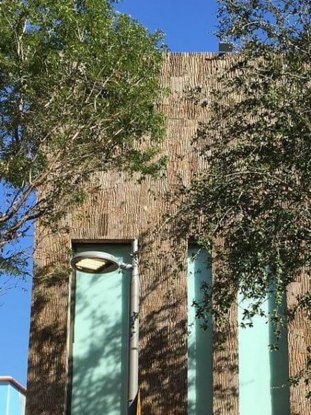 Bark House Brand exterior poplar bark shingle siding on the outside of Christian Louboutin's Miami shoe boutique