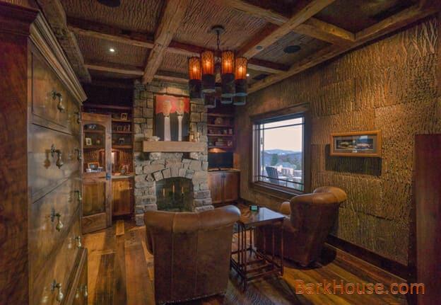 Bark House wall treatments: planed poplar bark wall coverings