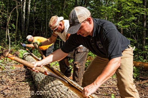 Bark House expert crew Peeling bark