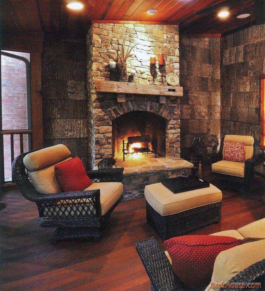 Interior Bark shingles in a warm classic living room