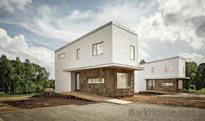 2013 R+D Awarding winning design: exterior Bark House poplar bark siding