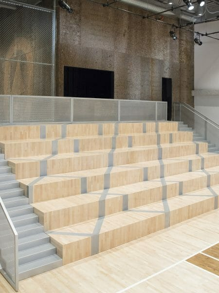 Bark House Tulip Poplar Natural Wall Panels in Nike's NYC HQ basketball court