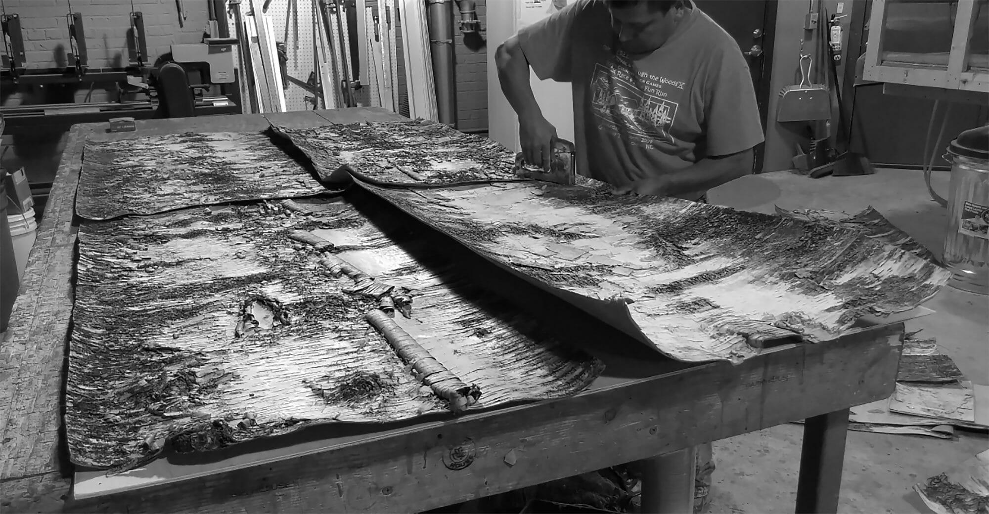 Berto creating Bark House White Birch Bark wall covering panels