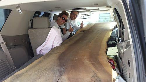 Bark House live edge wood slab going home