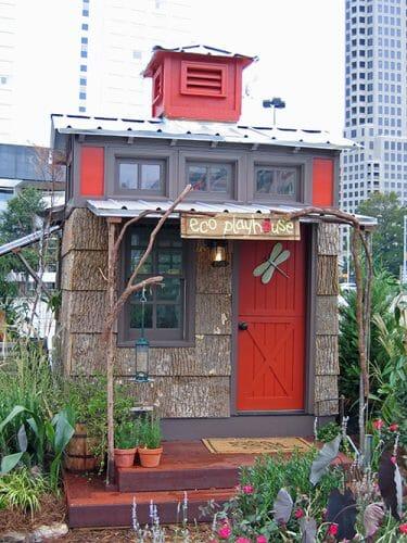 Bark House exterior poplar siding on playhouse for charity Atlanta