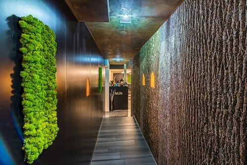 Bark House Poplar Panels in hallway - biophilia