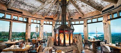 Bark House White Birch Bark Laminates on cabin ceiling