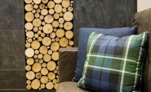 Bark House Poplar Pole End Cut Wall Panel. Designer: Earth Elements