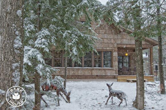 Bark House Poplar Bark exterior shingles - Michigan residence in the snow