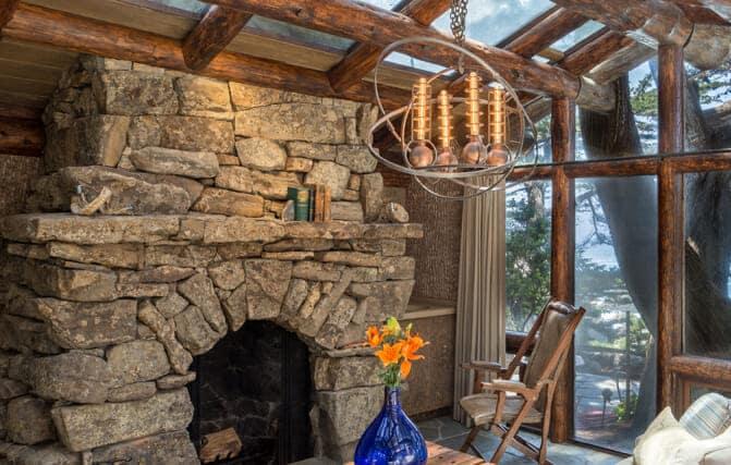 Retreat room with Bark House Wall Finishes: Poplar Bark Panels