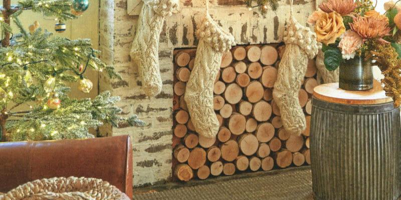 Inspiration: poplar pole end-cut panel as a fireplace insert