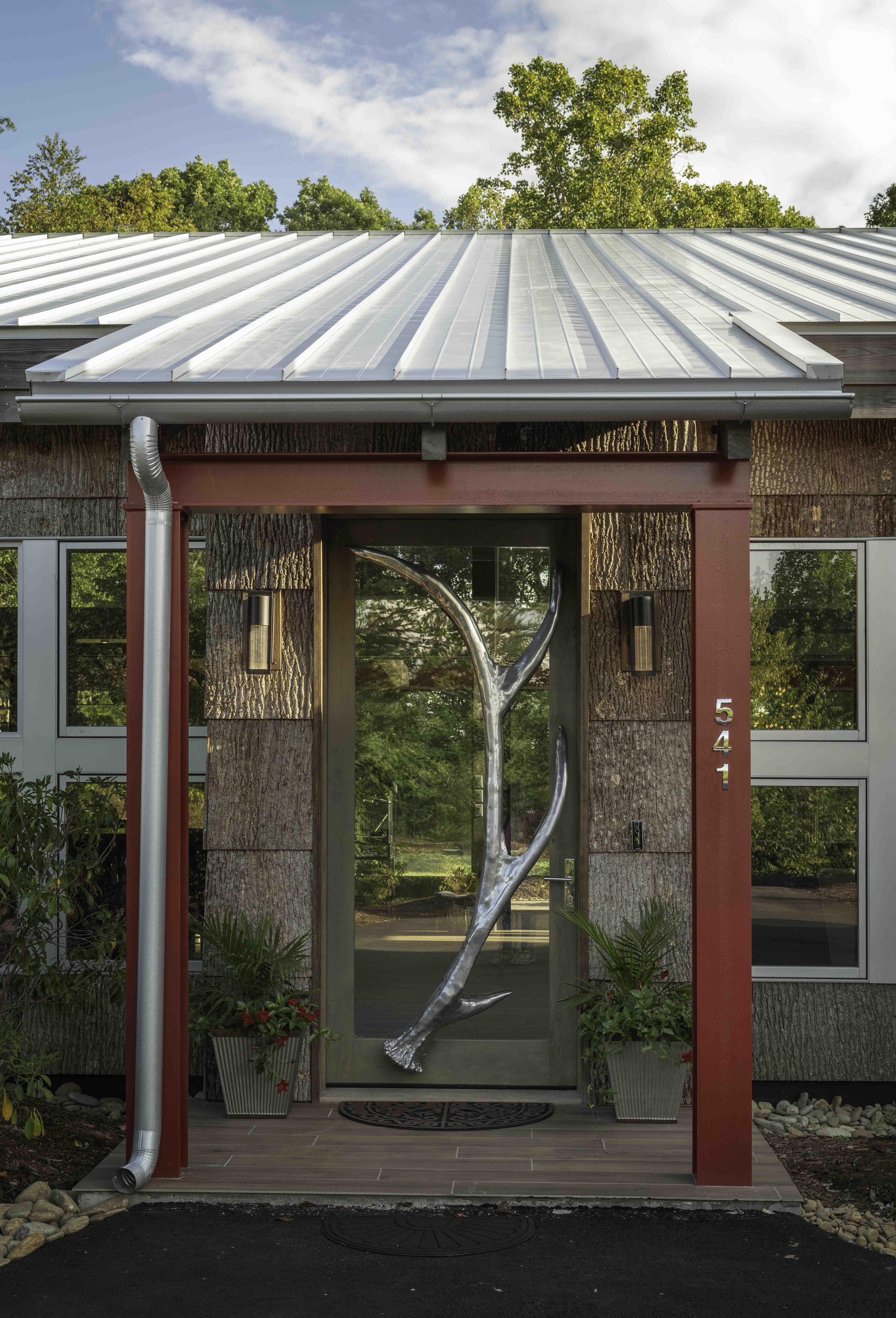 Tab Architects home in Hendersonville NC | Bark House Exterior Poplar Bark Shingles