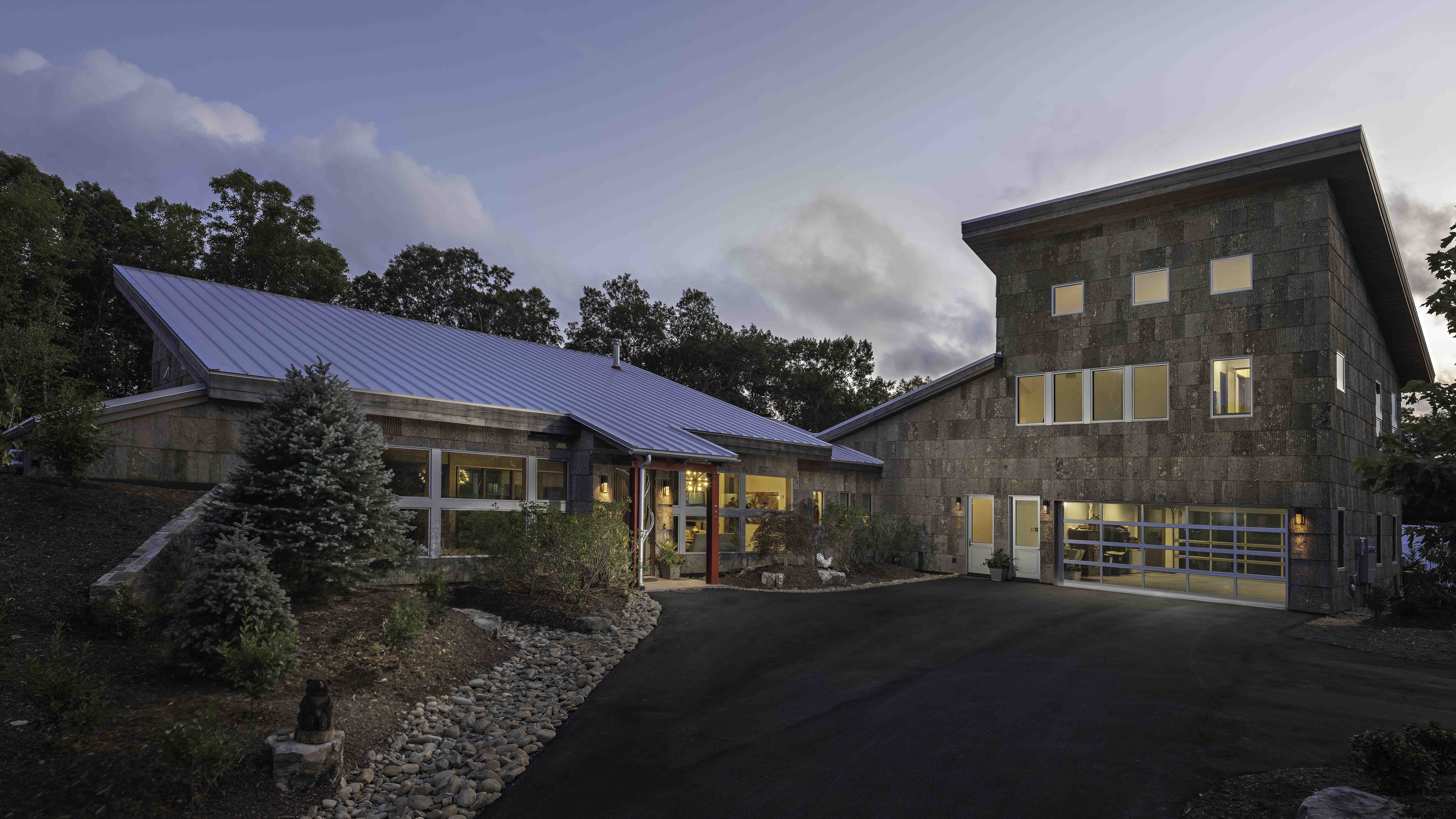Tab Architects home in Hendersonville NC | Bark House Exterior Poplar Bark Shingles